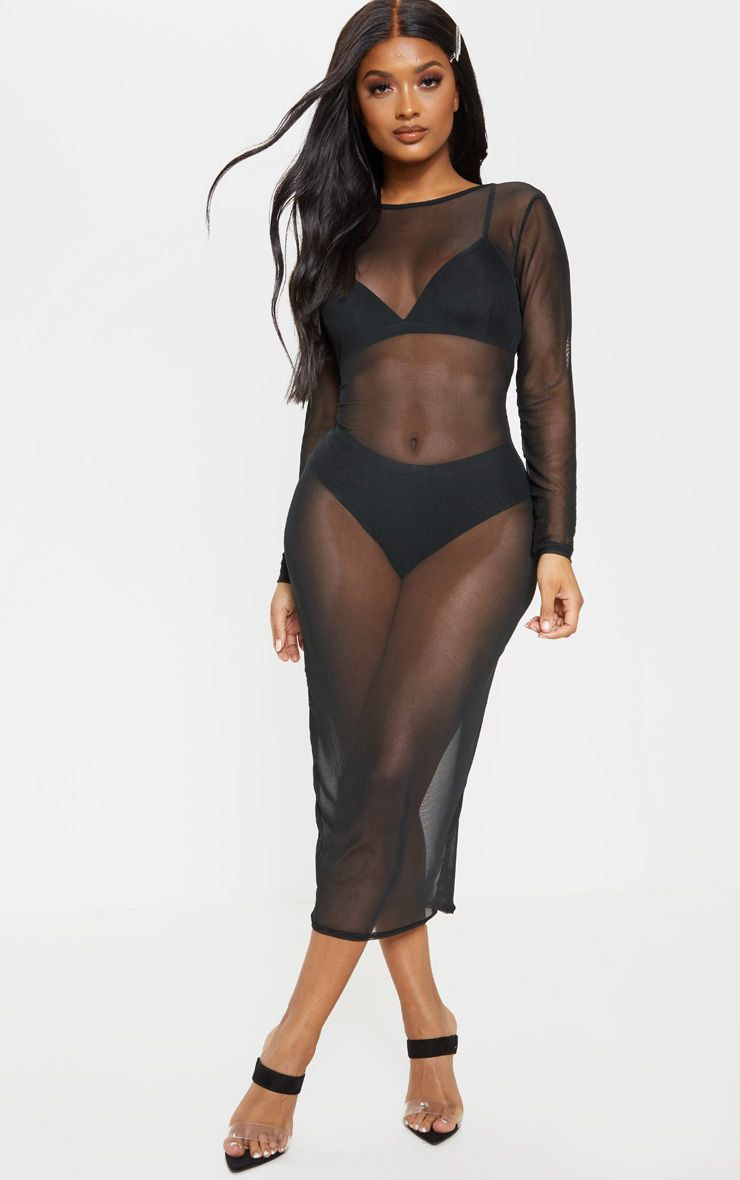 Shape Black Sheer Mesh Long Sleeve Midaxi Dress