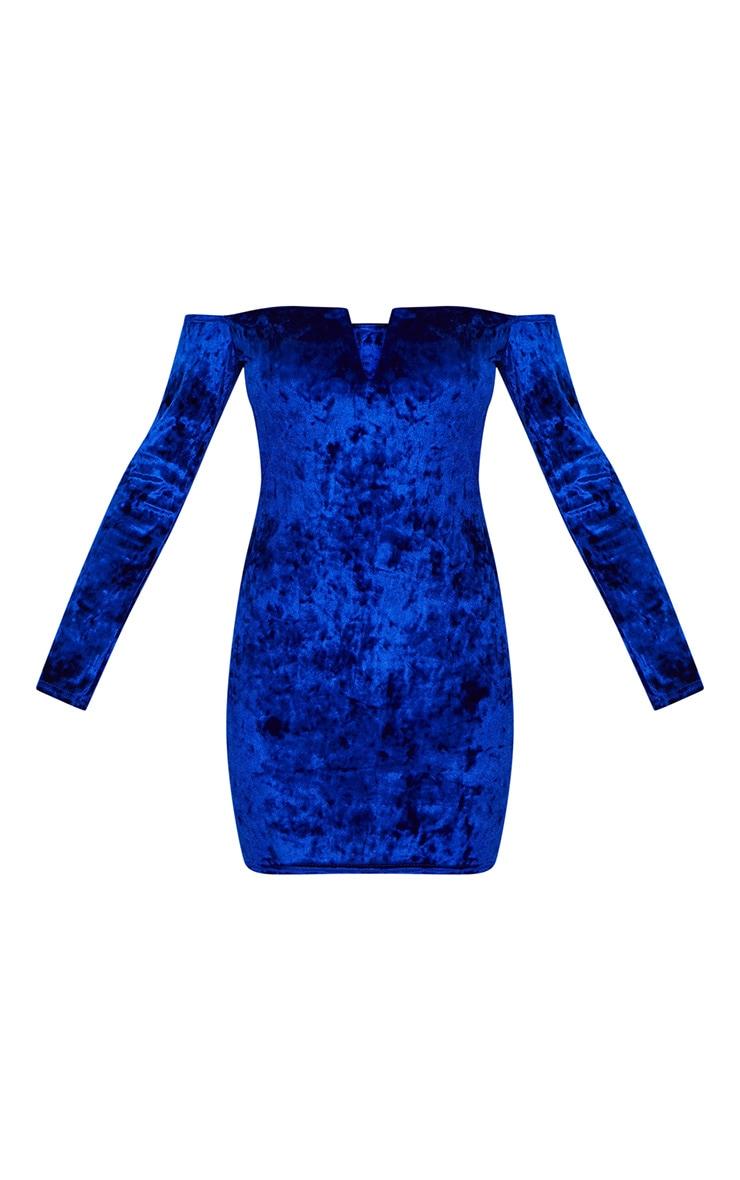 Cobalt Velvet V Bar Bardot Bodycon Dress 3
