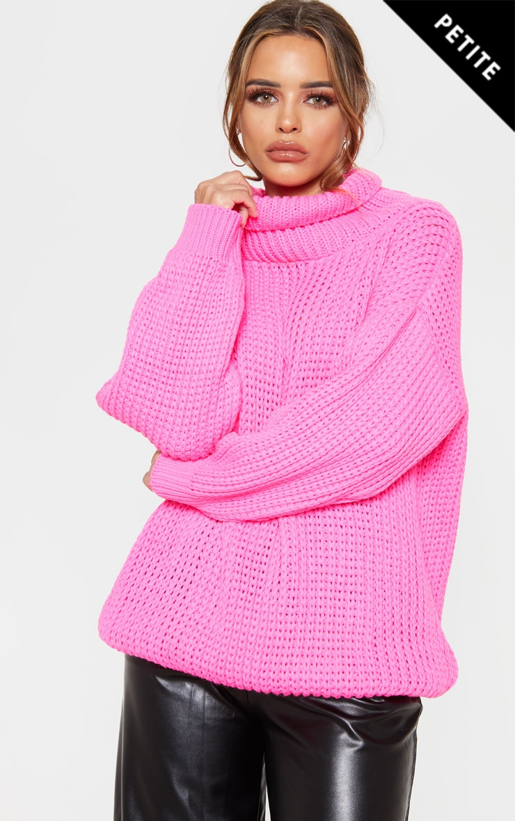 Petite  Hot Pink Roll Neck Oversized Chunky Knit Jumper 1