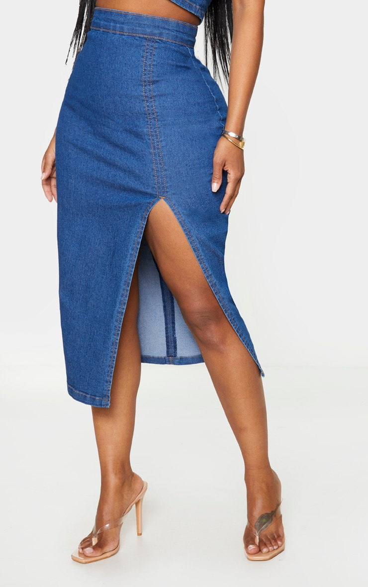 Shape Mid Blue Wash Denim Split Front Midi Skirt 2