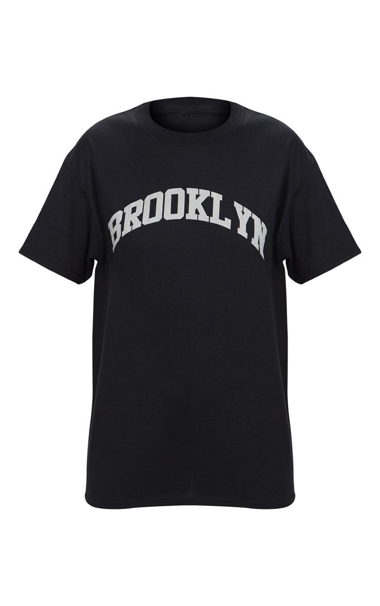Black Brooklyn Slogan Oversized T Shirt 3