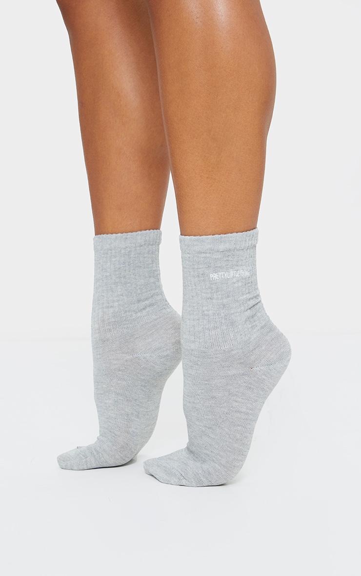 PRETTYLITTLETHING Grey Embroidered Socks 1