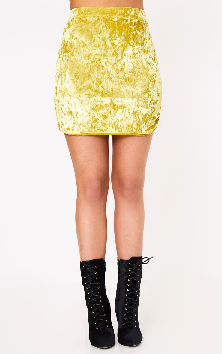 Yellow Velvet Curve Hem Mini Skirt  2