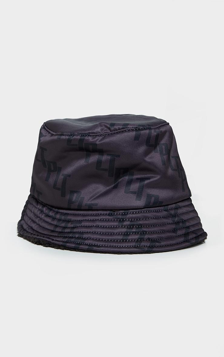 PRETTYLITTLETHING Black Satin Bucket Hat 2