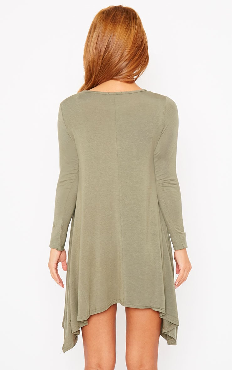 Basic Khaki Swing Dress 2