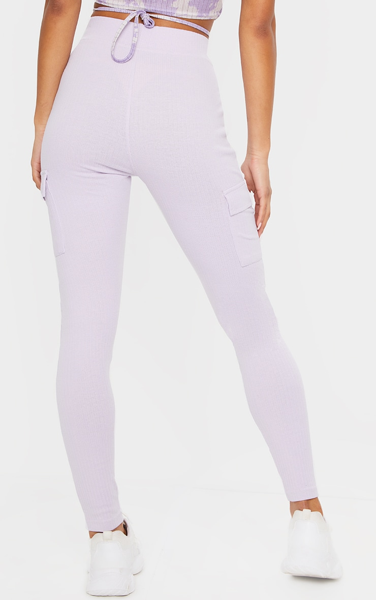 Lilac Pocket Detail Heavy Ribbed Leggings 3