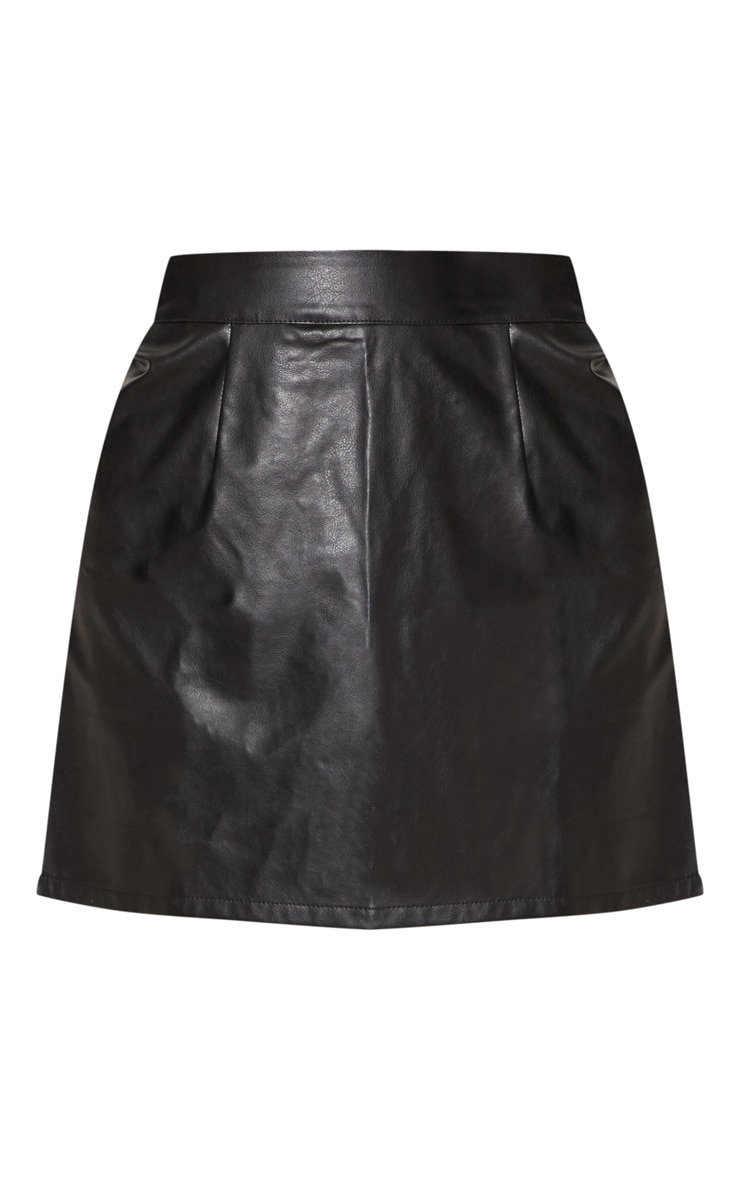 Black Faux Leather A-Line Mini Skirt 4