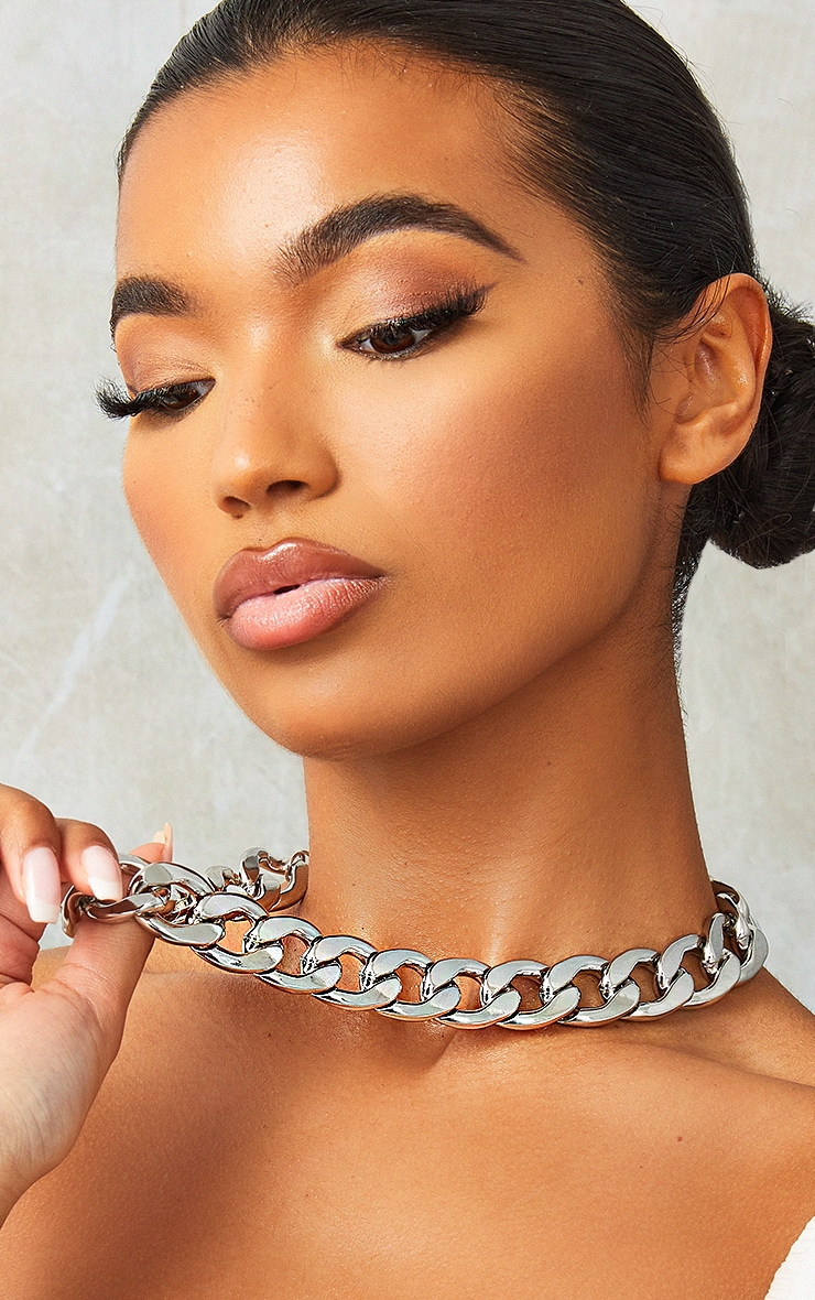 Silver Oversized Statement Curb Chain Necklace 2