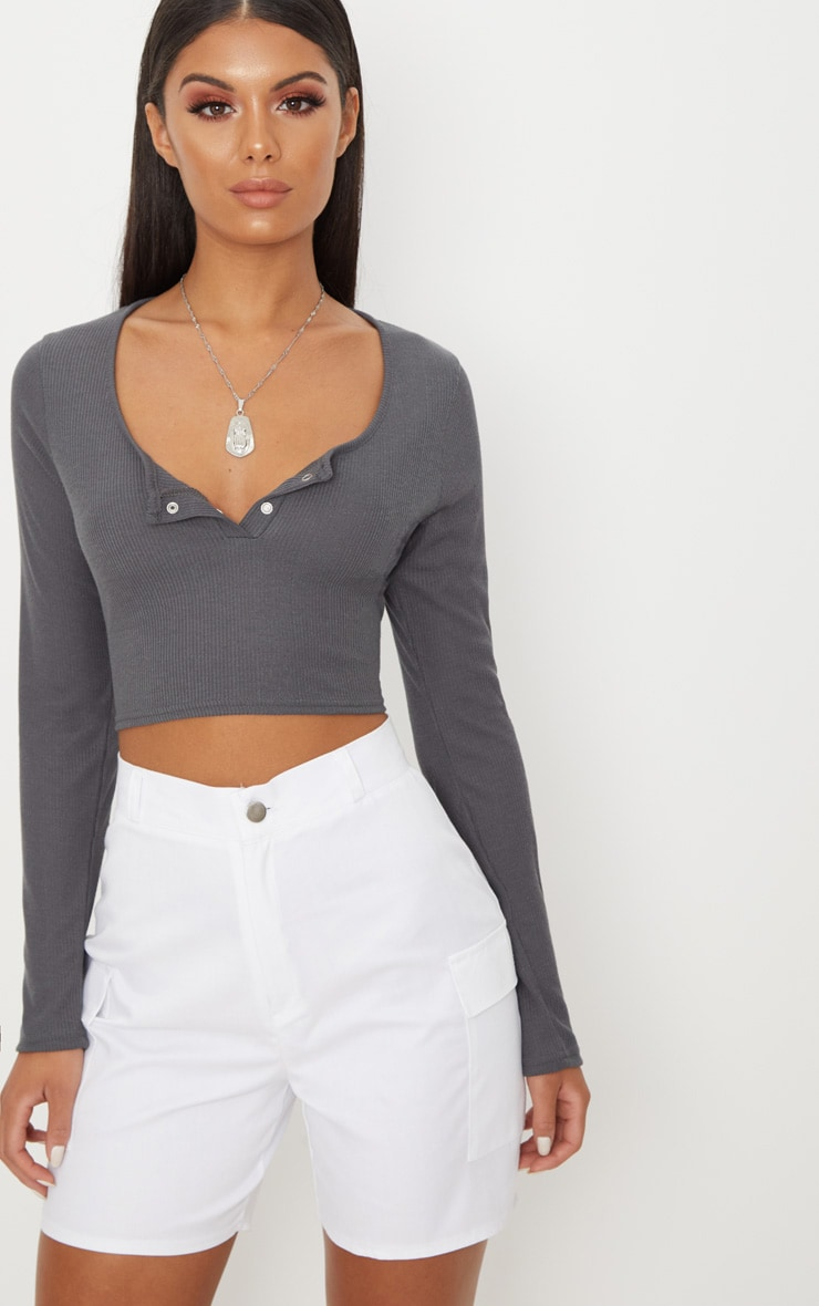 Charcoal Rib Popper Front Long Sleeve Crop Top  1