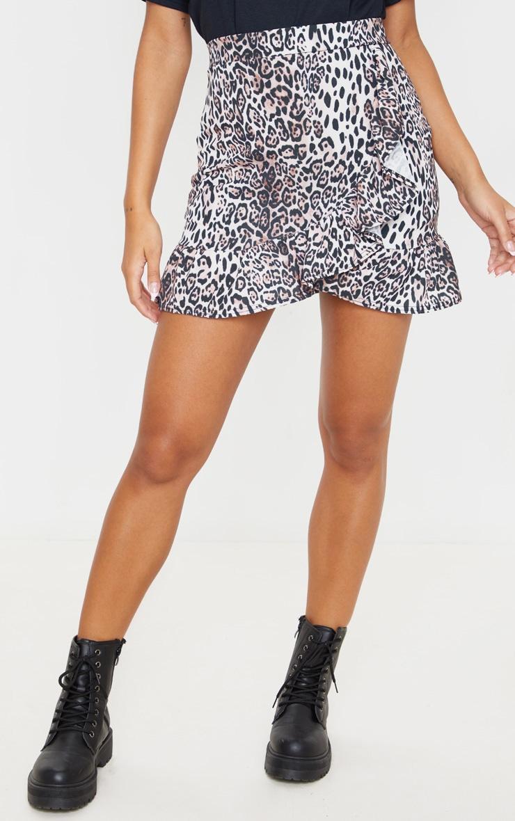 Leopard Print Frill Hem Wrap Mini Skirt 2