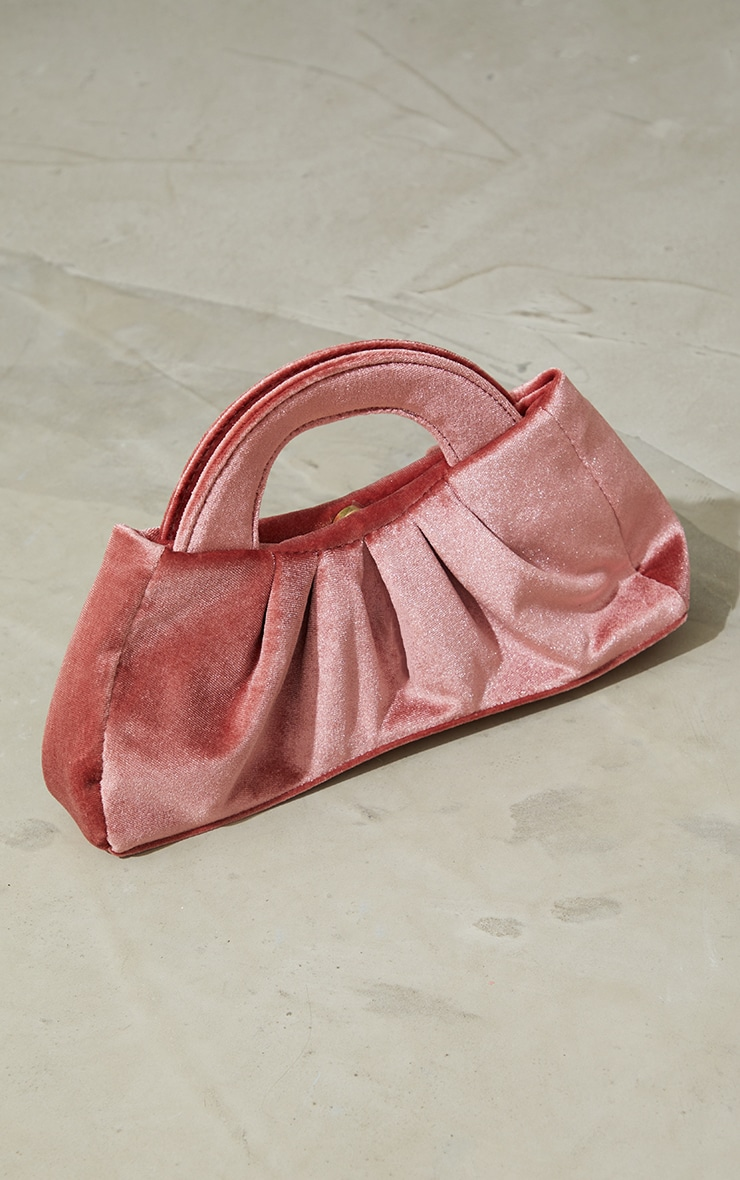 Rose Velvet Handle Ruched Clutch 1