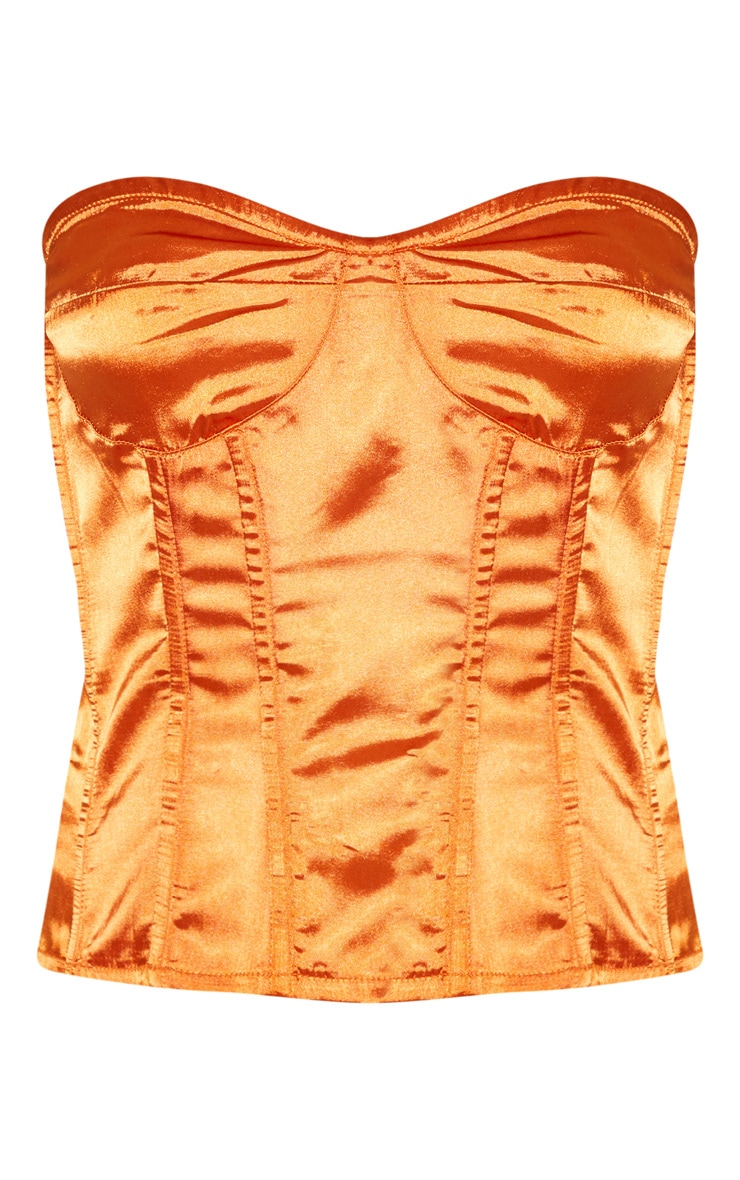 Burnt Orange Satin Corset 3