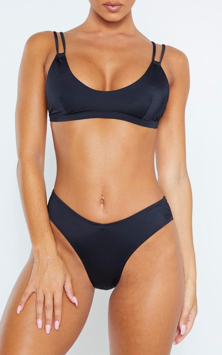 Black Recycled Fabric Mix & Match Bikini Bottom 1