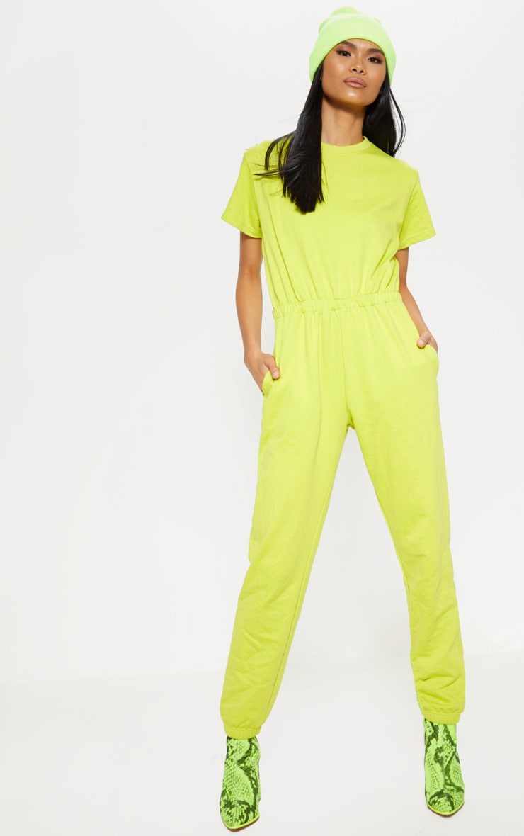 Lime Short Sleeve Crew Neck Sweat Jumpsuit 4