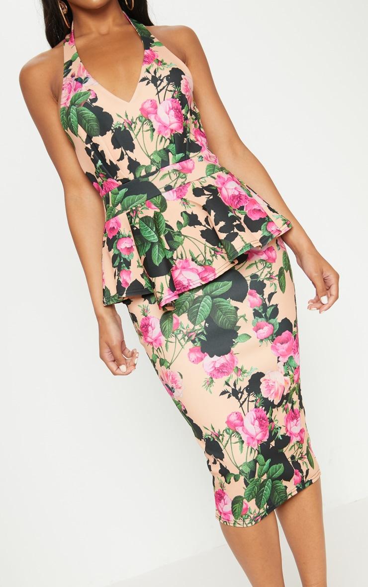 Peach Floral Peplum Detail Midi Dress 5