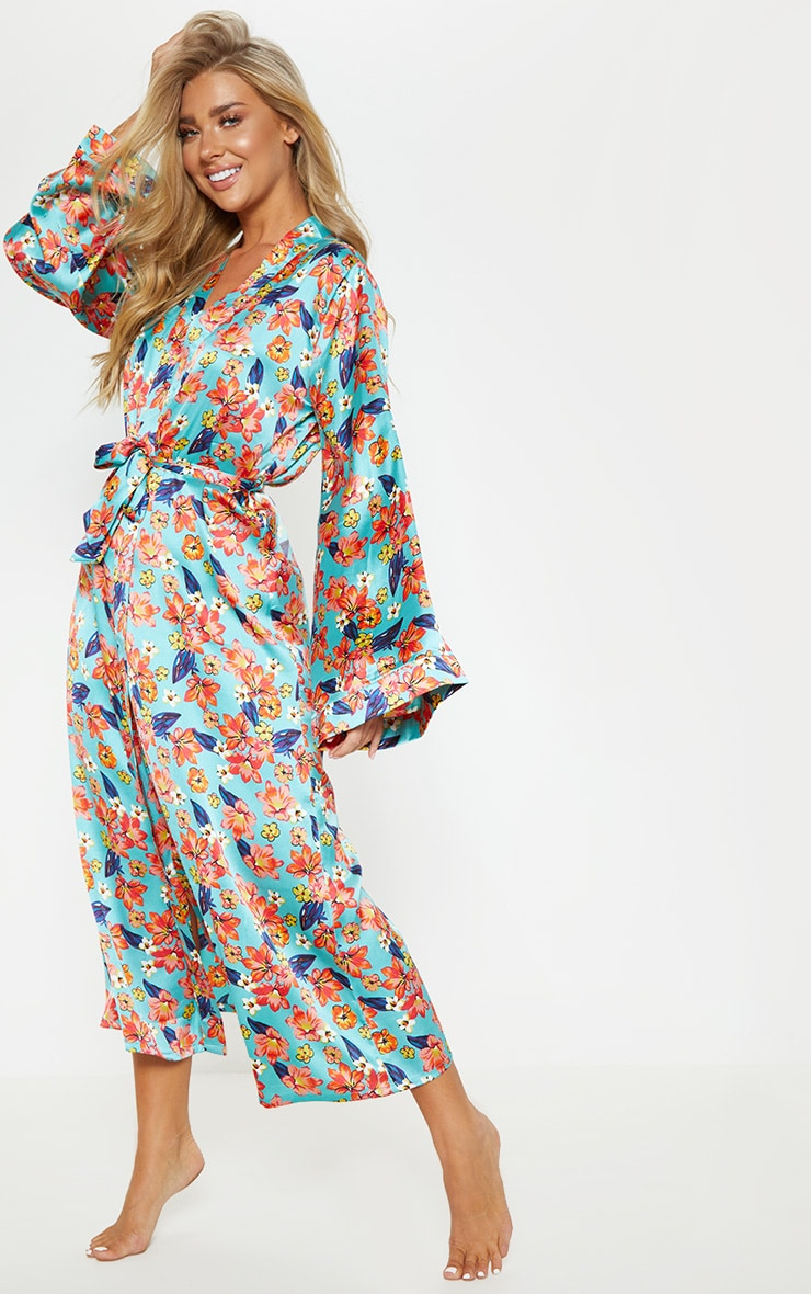 Blue Bright Floral Satin Robe 4