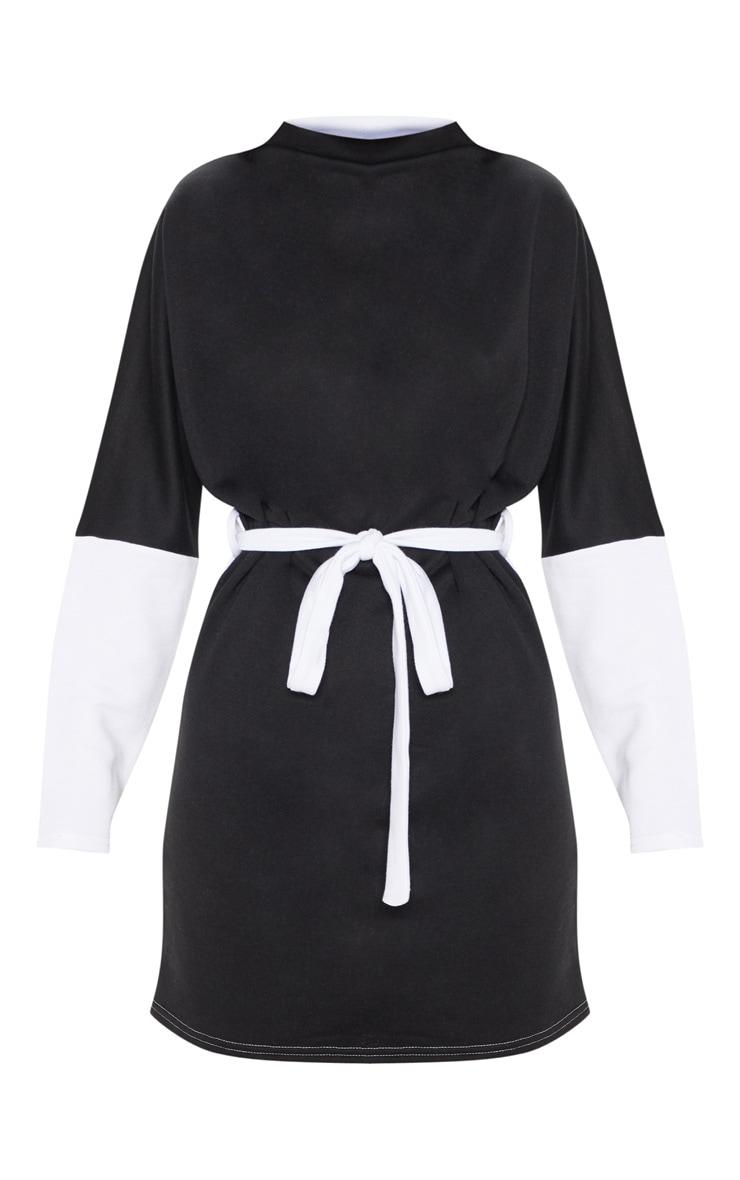 Black Oversized Funnel Neck Tie Waist Jumper Dress 3