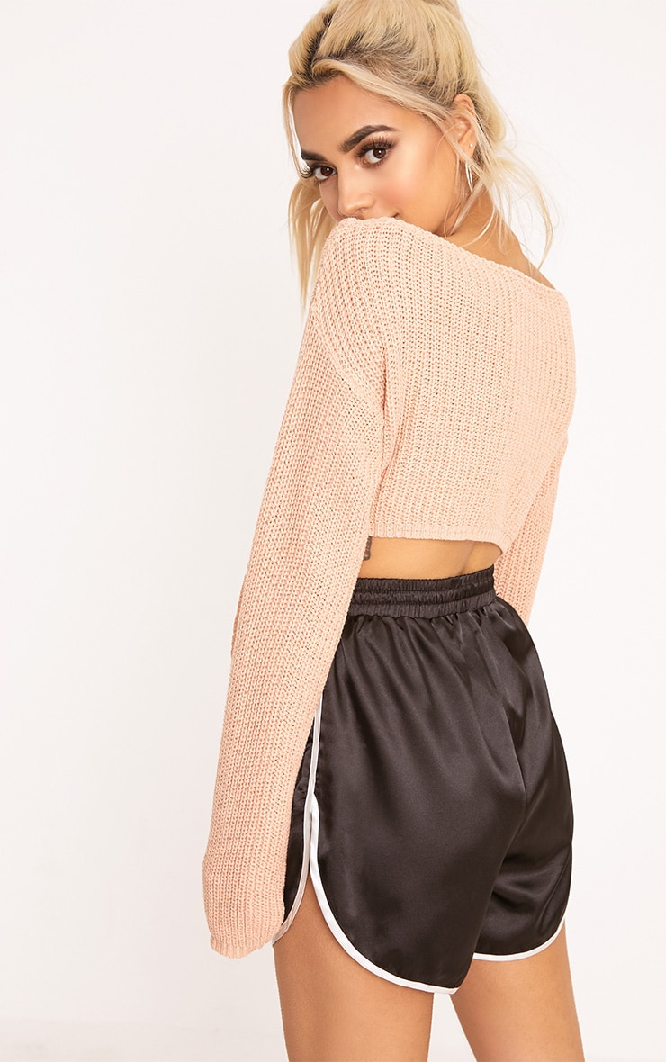 Bess Blush Front Tie Detail Mini Cropped Jumper 2