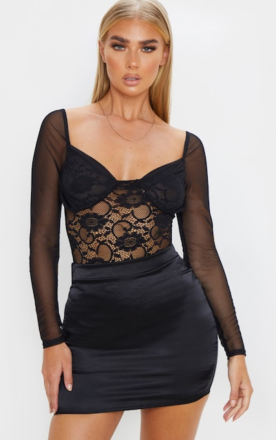 Black Chiffon Sleeve Lace Bodysuit