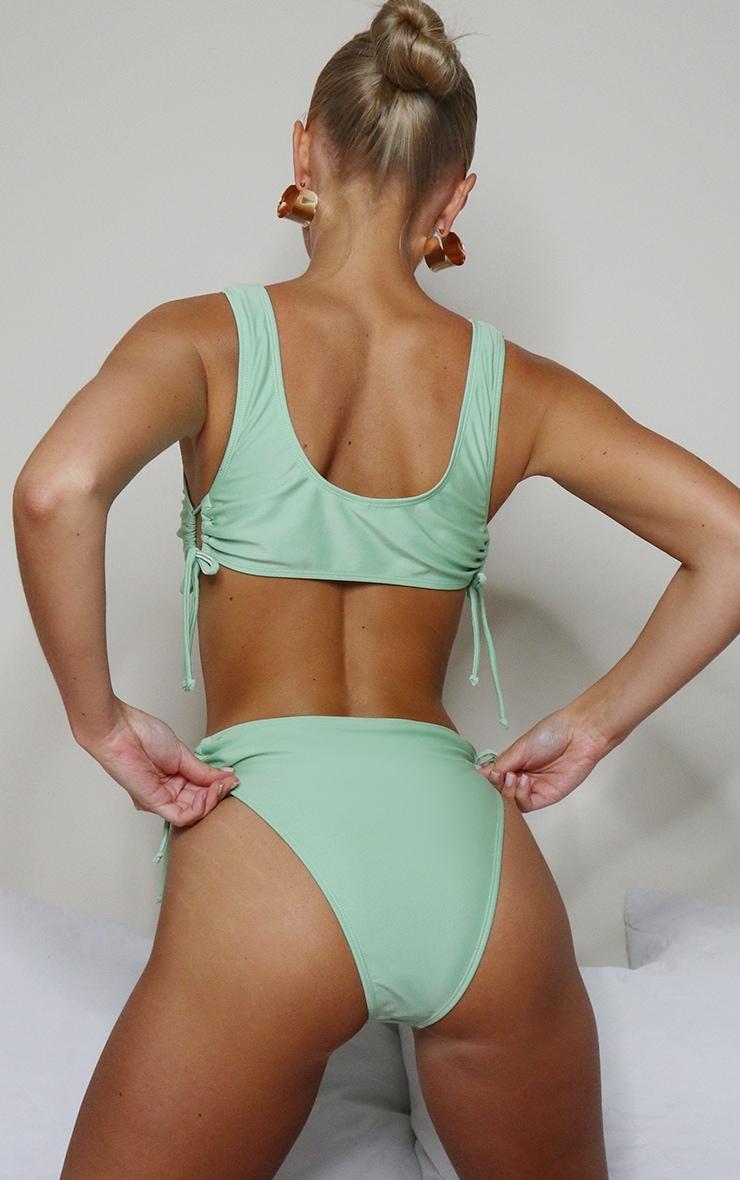 Sage Green Ruched Cut Out Bikini Bottom 2