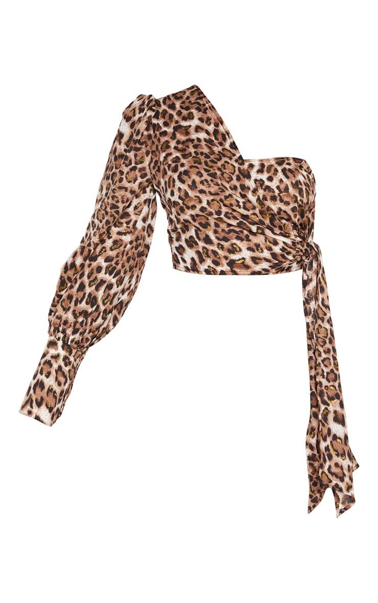 Tan Leopard One Shoulder Tie Side Crop Blouse 3