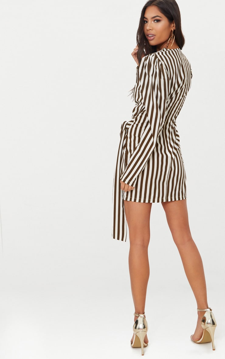 Olive Striped Puff Sleeve Tie Bodycon Dress 2