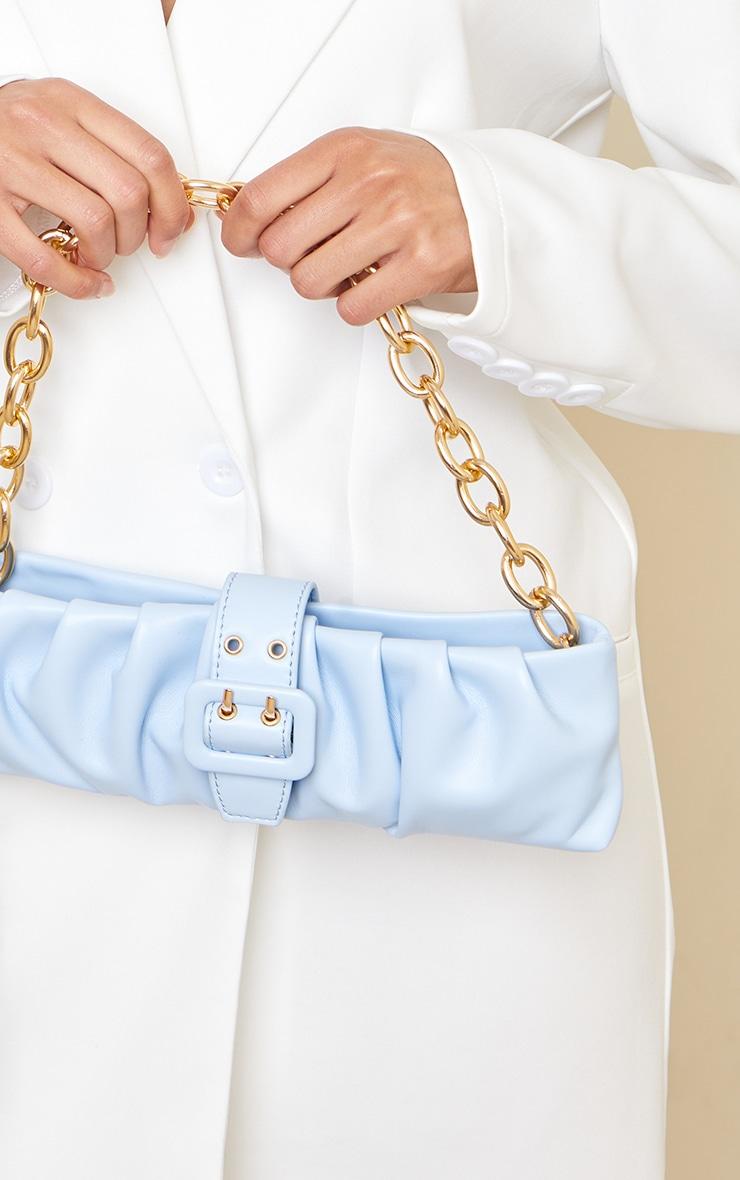 Baby Blue Baguette Gold Chunky Chain Shoulder Bag 4