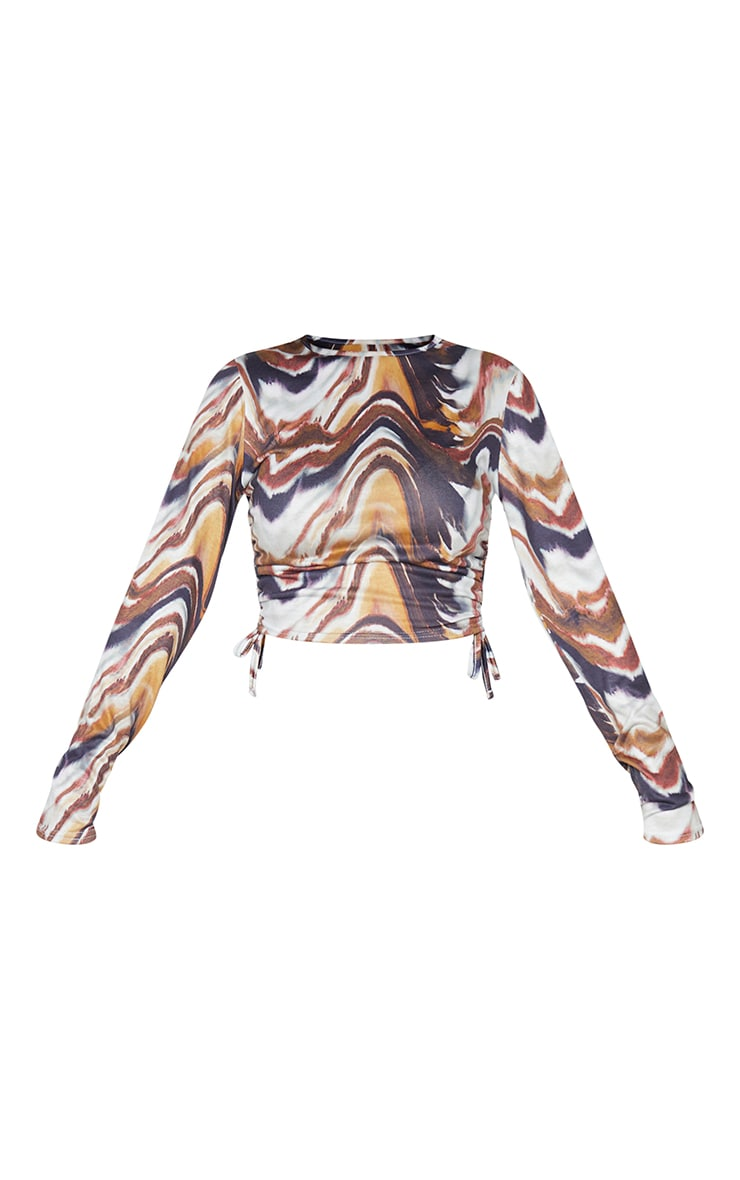 Beige Print Jersey Ruched Side Long Sleeve Crop Top 5