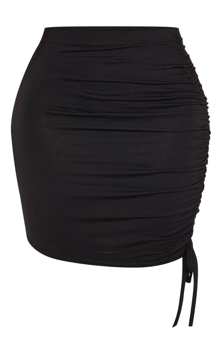 Shape - Jupe en jersey noir à côté froncé 3