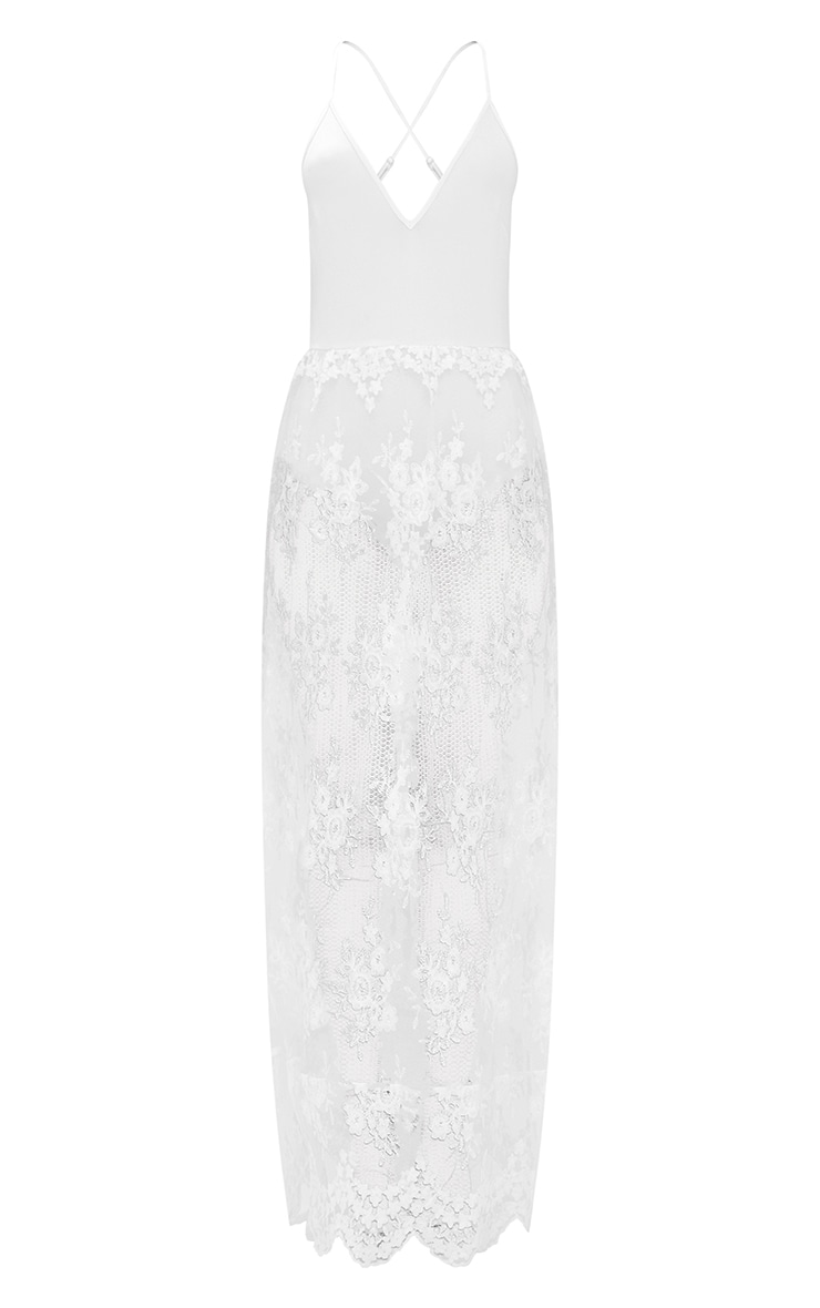 White Sheer Lace Plunge Maxi Dress 3