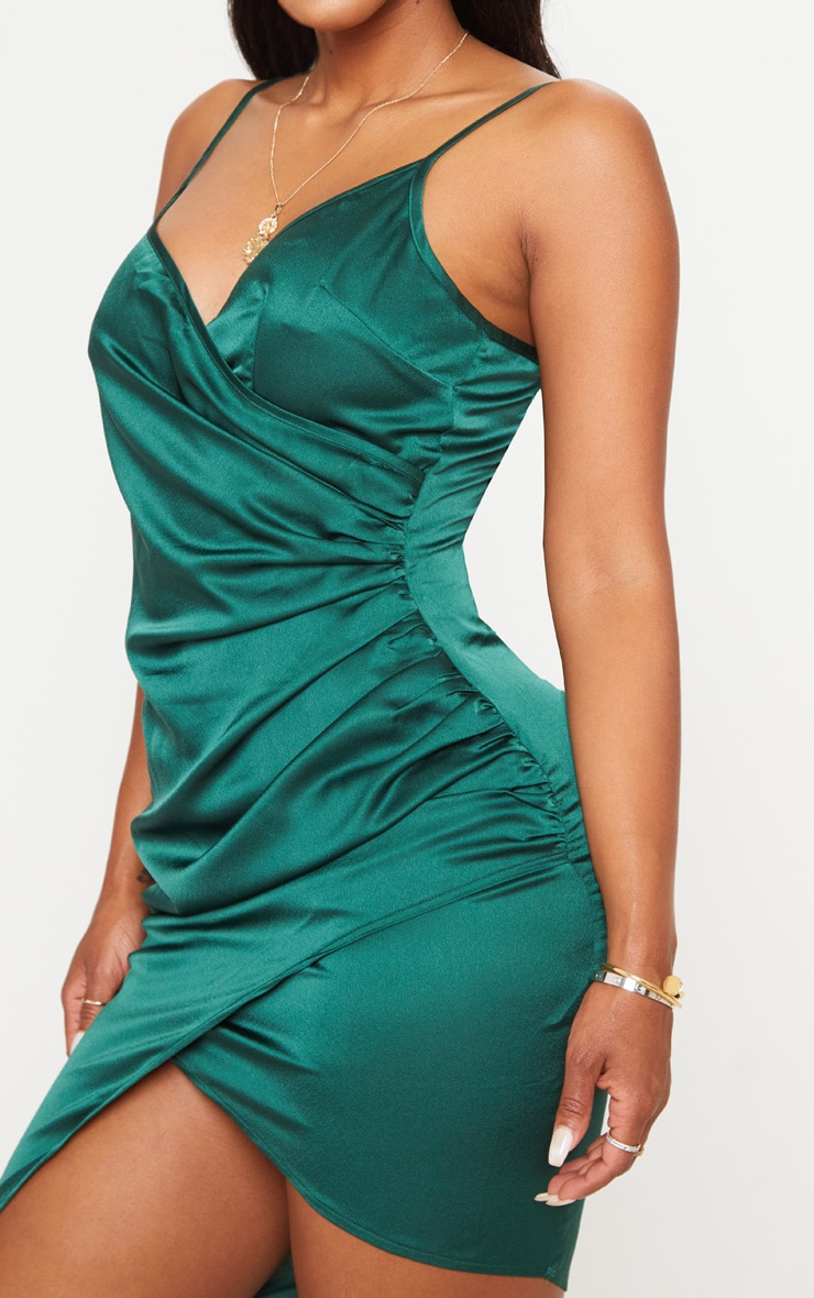 Shape Emerald Green Satin Wrap Dress 4