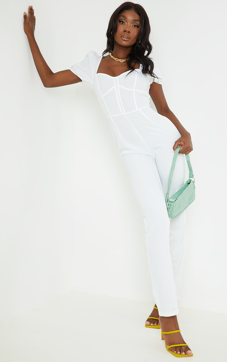 Tall - Combinaison blanche style corset à manches bouffantes 3