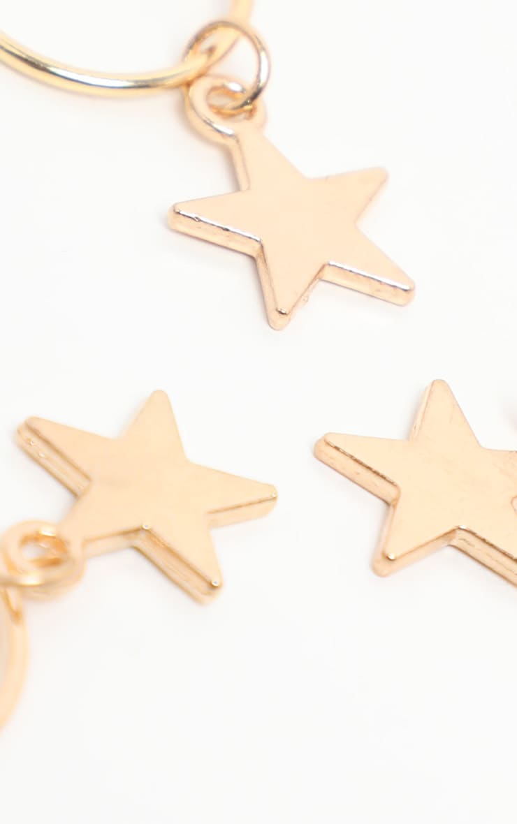 Gold Five Pack Stars Hair Rings 3