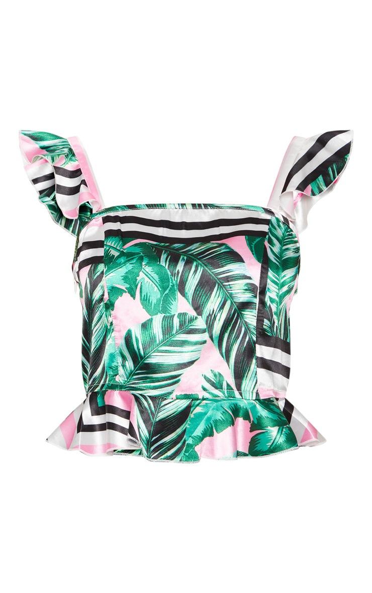 Petite Pink  Palm Print Frill Strap Crop Top 3