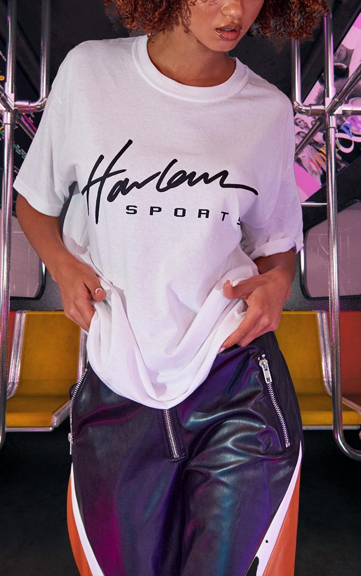 White Unisex Harlem Graphic Print Oversized T Shirt 4