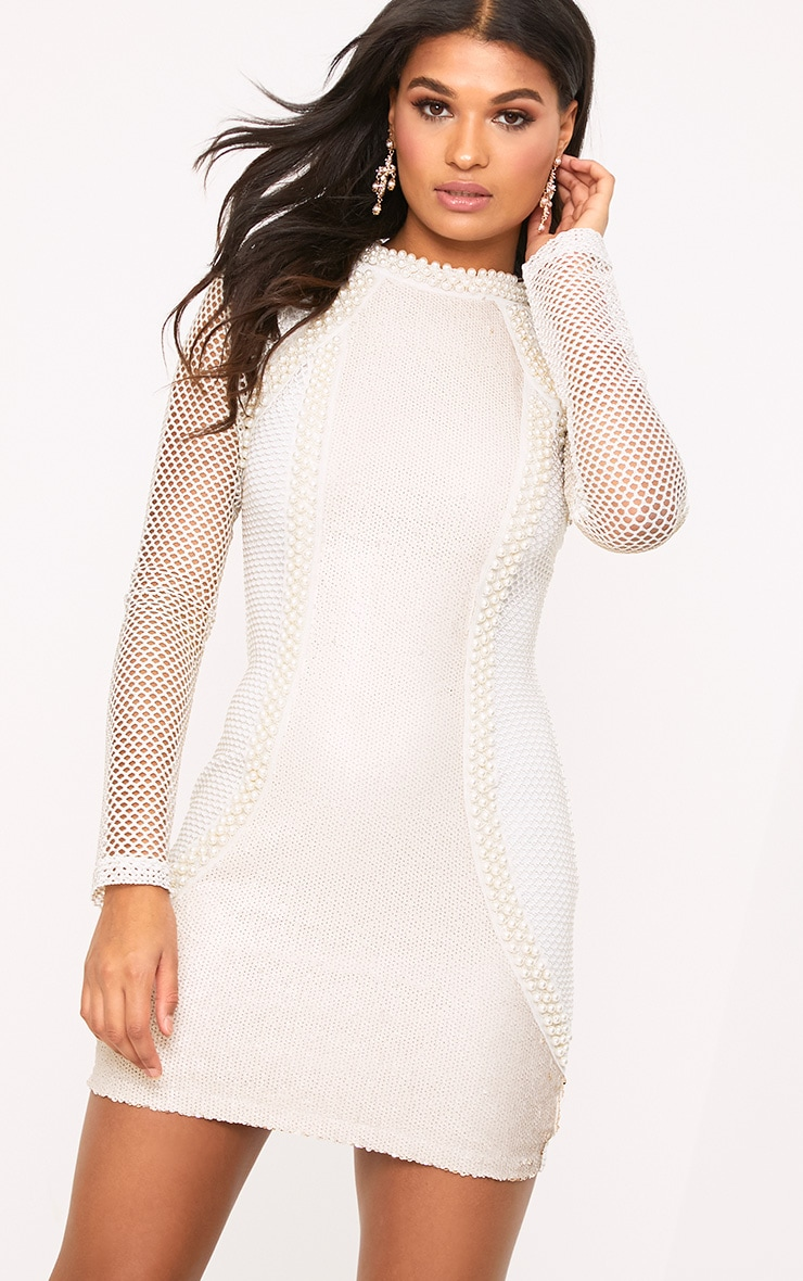 Riella White Premium Fishnet Sequin Panelled Bodycon Dress 6