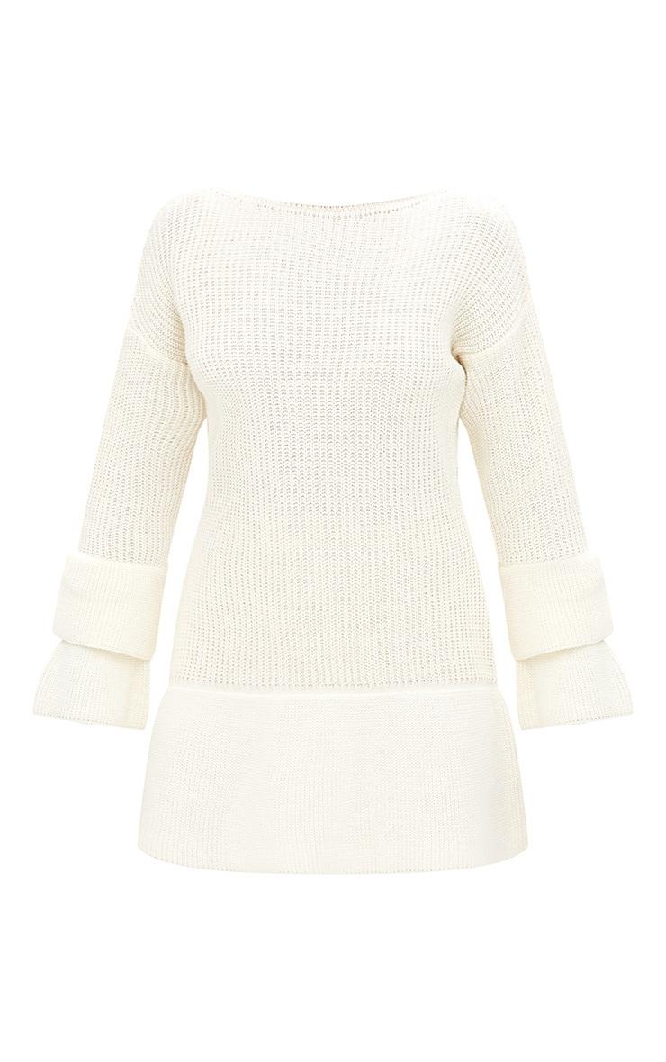 Cream Frill Sleeve Knitted Jumper 3