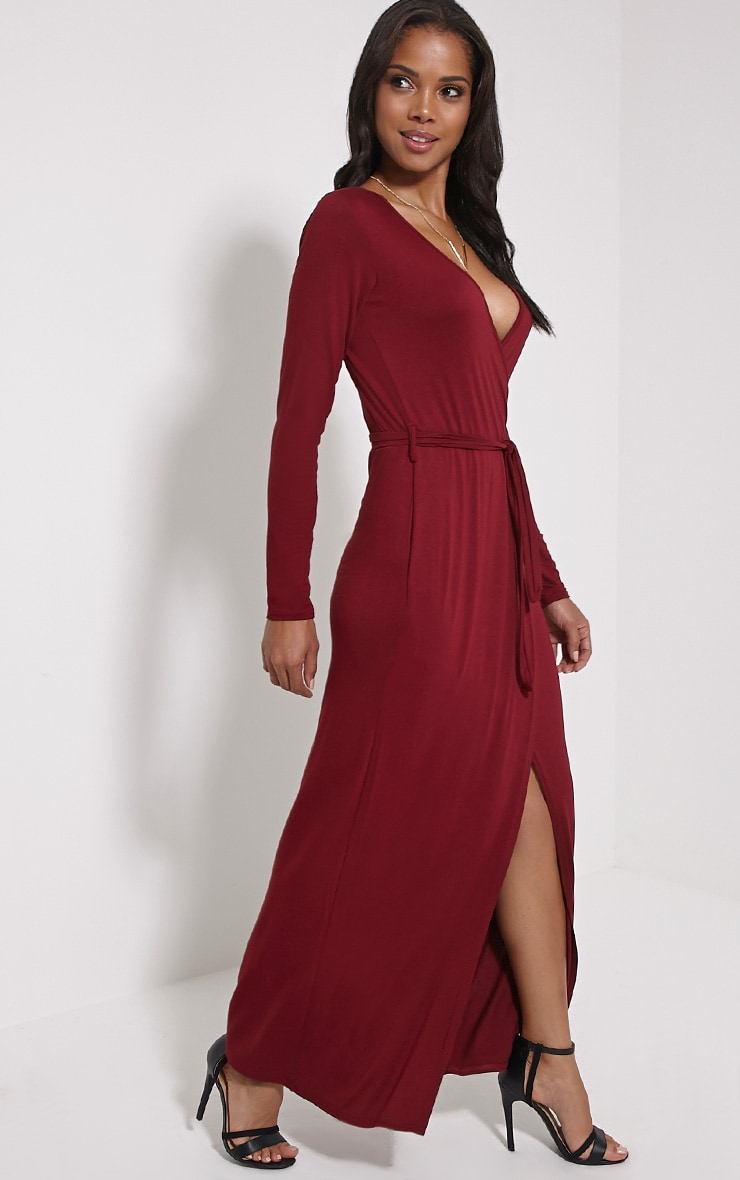 Pennie Burgundy Wrap Front Maxi Dress 1