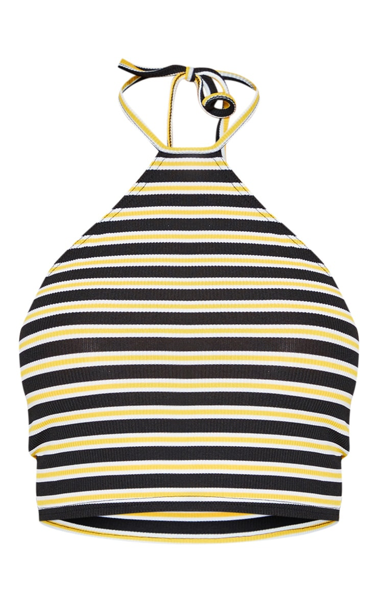 Yellow Stripe Rib Halterneck Crop Top 3