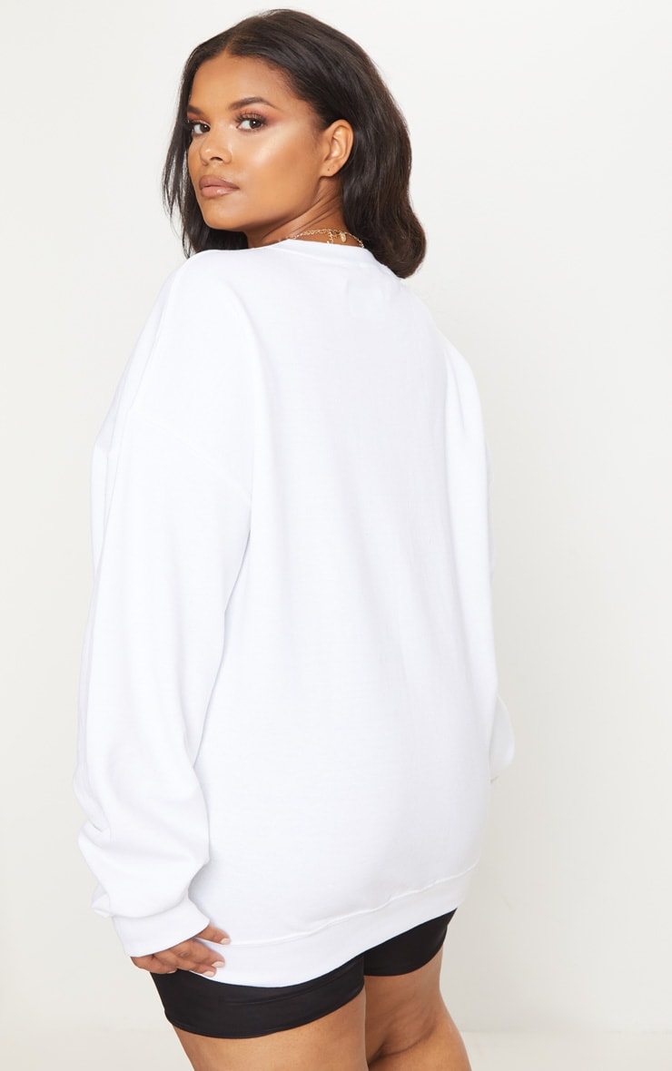 PRETTYLITTLETHING Plus White Oversized Sweater 2