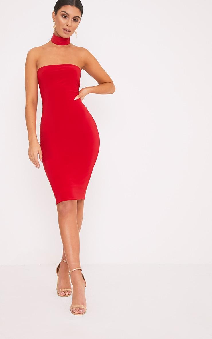 Ilana Red Slinky Choker Neck Midi Dress 1