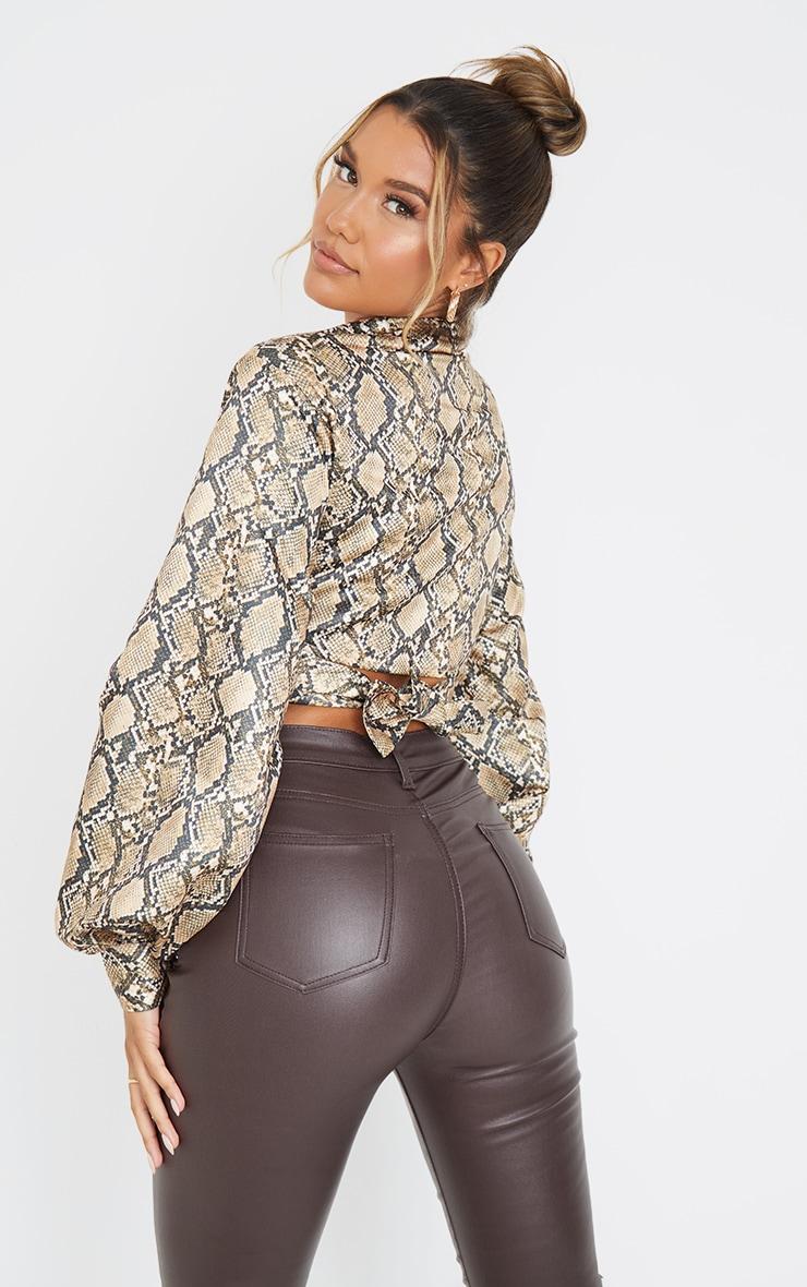 Brown  Snake Print Satin Balloon Sleeve Tie Front Shirt 2