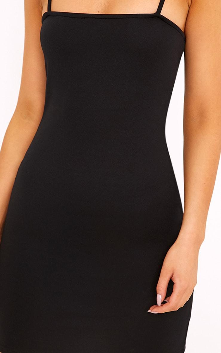 Desri Black Straight Neck Bodycon Dress 5