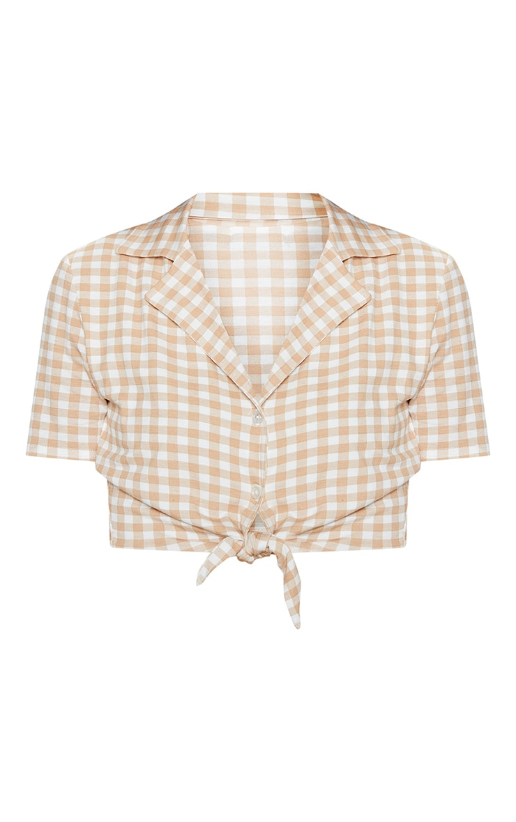 Brown Gingham Knot Front Crop Shirt 3