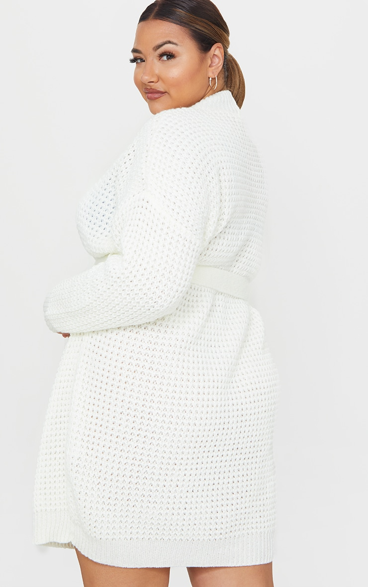 Plus Cream Soft Touch Belted Knitted Jumper Dress 2