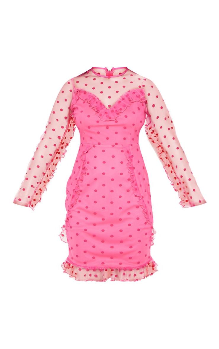 Petite Fuchsia Dobby Mesh Frill Detail Long Sleeve Dress 3