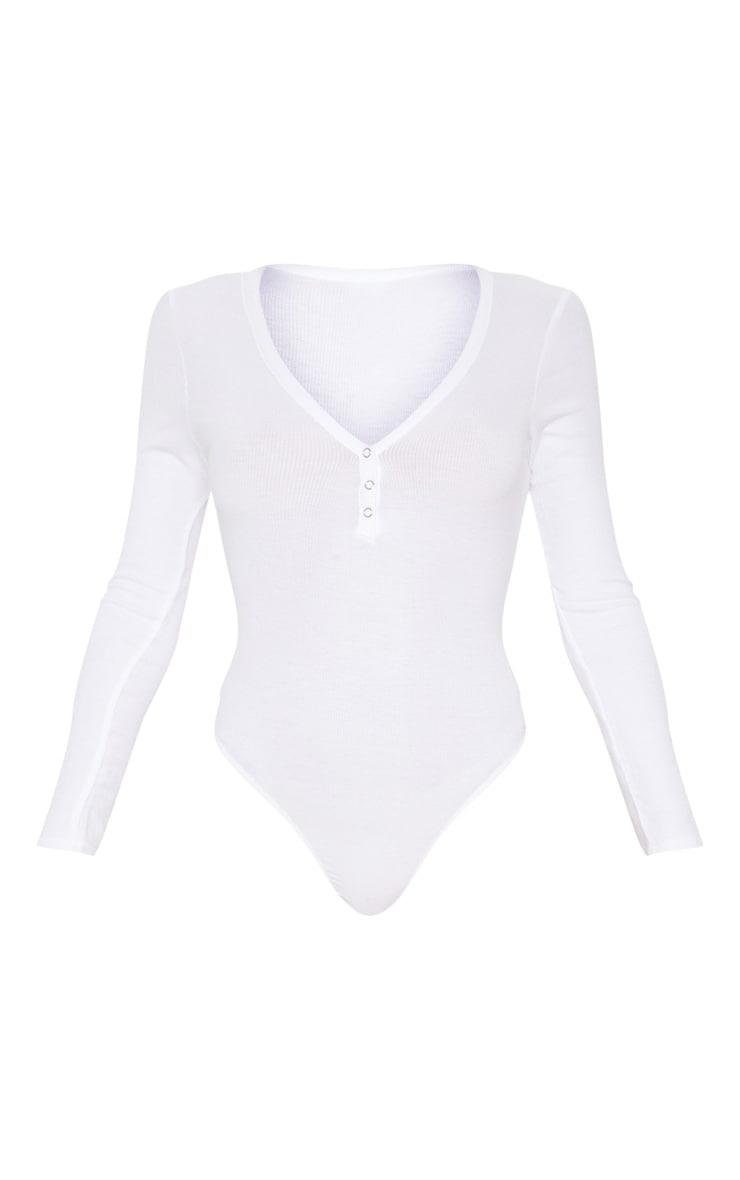 White Long Sleeve Popper Detail Thong Bodysuit 3