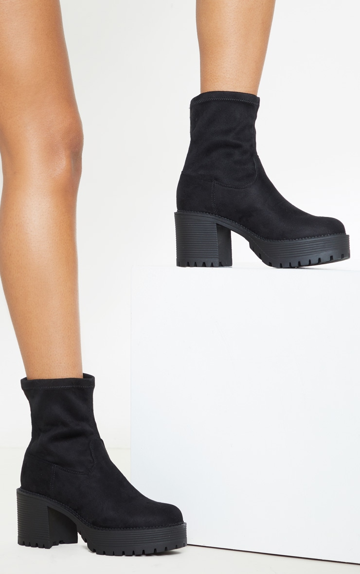 Black Faux Suede Chunky Sock Boot  2