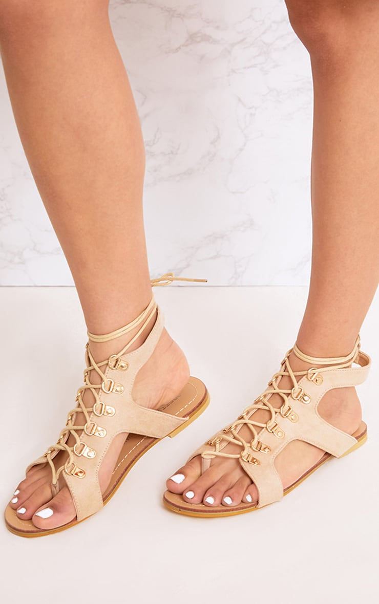 Nerina Nude Lace Up Gladiator Sandals 2