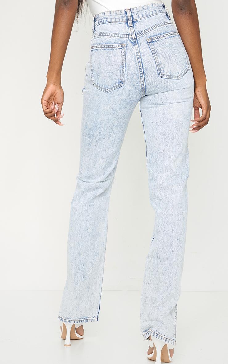 Tall Ice Blue Distressed Split Hem Jeans 3